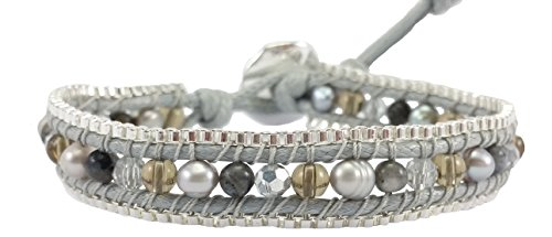 DEW Drops Cultured Freshwater Pearl Gray Agate & Crystal Leather Wrap Bracelet, Single Wrap, 4mm/Bead