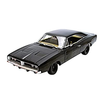 1969 Dodge Charger Black Happy Birthday General Lee 1/18 by Autoworld AWSS110: Toys & Games