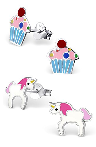 Best Wing Jewelry .925 Sterling Silver''Pink Unicorn and Sprinkles Cupcake'' Set Stud Earrings (2 Pairs) by Best Wing Children's Earrings (Image #2)