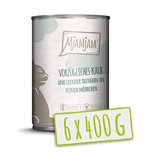 MjAMjAM – Premium Nassfutter für Katzen – vorzügliches Kalb & Truthahn an leckeren Möhrchen, 6er Pack (6 x 400 g…