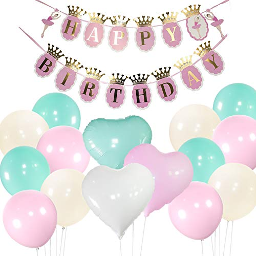 PartyWoo Pink White Turquoise Balloons with Birthday Banner, 46 pcs Pale Pink Balloons White Teal Balloons Pastel Color Heart Shape, Girl Birthday, Ballerina Party, Sweet 16, Girl Baby Shower, Baptism