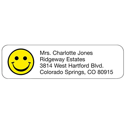 Personalized Cheerful Design Address Labels-Bright Yellow Smile Face-Includes a Set of 200 Self-Stick Sheeted Labels Sized at 2 ¼ in. long x 5/8 in. wide