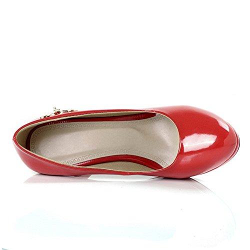 Balamasa Femmes Talons Hauts À Talons Hauts Bout Rond Chaussures Solides Chaussures Rouges