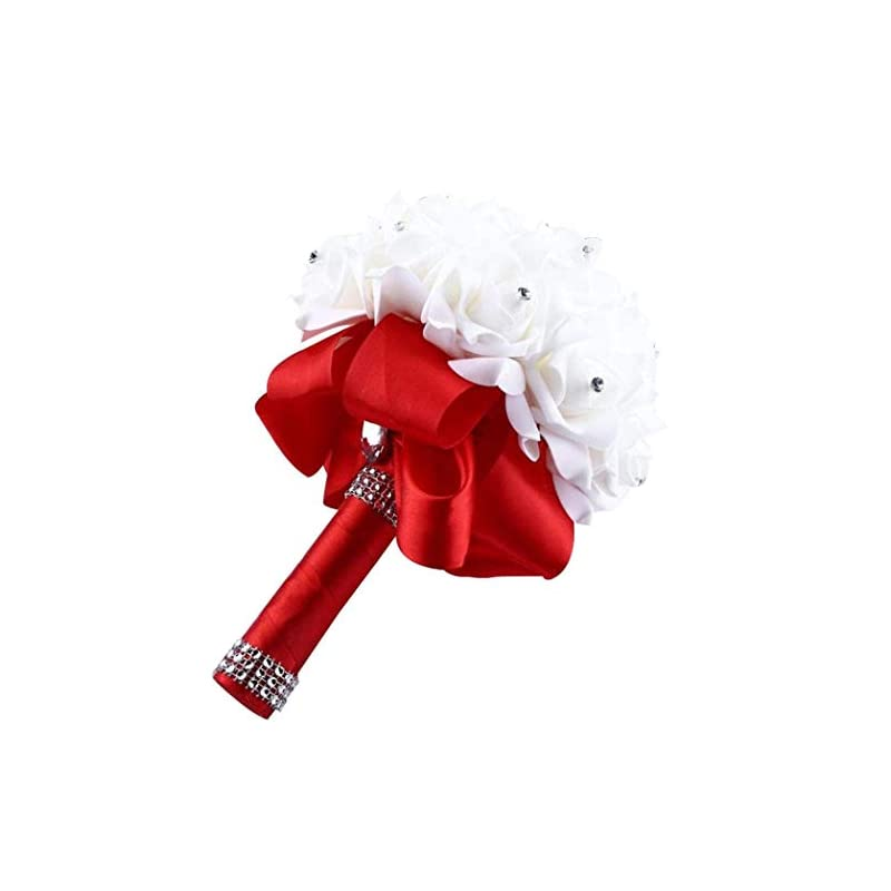 silk flower arrangements eternal blossom wedding bouquet, crystal pearl silk rose bride bridesmaid wedding holding roses, 2520cm artificial fake flowers for wedding parties and churches (red)