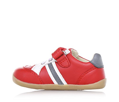 BOBUX - Roter Sportschuh aus Leder, äußerst flexibel, erlaubt ein unbeschränktes Wachstum, mit ungiftigen Färbemitteln und Materialien hergestellt, mit Klettverschluss, Jungen