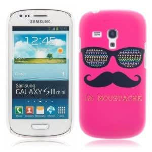 Unique Colorful Plastic Protective Case with Red Glasses and Beard Pattern for Samsung S3 Mini I8190