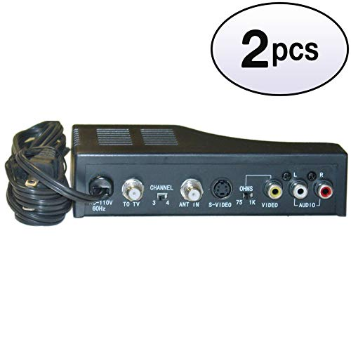 - GOWOS (2 Pack) RF Modulator with S-Video, Composite Audio/Video RCA/S-Video to F-pin Coaxial, Channel 3/4 Selector