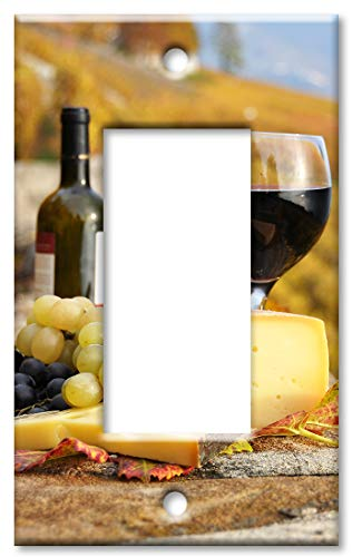 (Art Plates 1 Gang Decora - GFCI Wall Plate - Red Wine and Cheese with Winery)