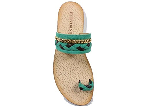 Zapatos Mujer EDDY DANIELE 37 Sandalias Verde Marrón Gamuza AX720