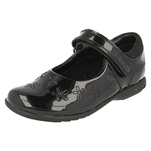 Clarks Breena Toes Girls Infant School Shoes in Black Leather and Patent Black Patent
