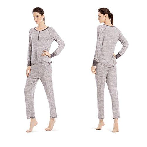 HXQ Cuello redondo Pijama para Mujer Manga larga gray