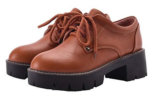 Brun Légeres Unie Femme Verni Lacet Tsfdh004108 Couleur Rond Aalardom Chaussures fPTqx