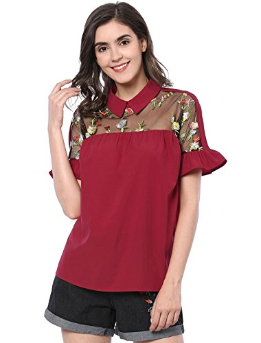 Allegra K Women's Floral Embroidered Ruffle Cuff Collared Blouse XS Burgundy