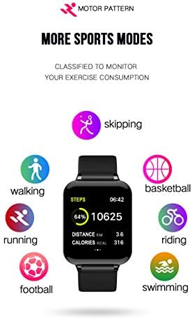 Smart Watch, Fitness Tracker for Android and iOS Phones with Heart Rate & Blood Pressure Monitor, Sleep Monitort, Information Reminder & Step Counter Waterproof Fitness Tracker for Men, Women and Kids 41pomXc8OcL
