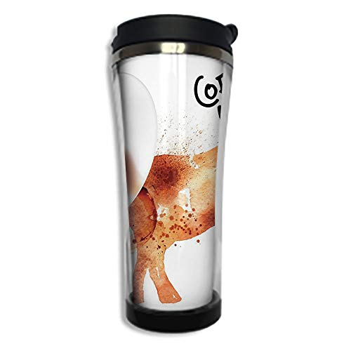 - Customizable Travel Photo Mug with Lid - 8.45 OZ(250 ml)Stainless Steel Travel Tumbler, Makes a Great Gift by,Coffee Art,Drink Coffee and Be Wiser Concept with Elephant Espresso Stains,Burnt Sienna B