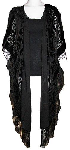 Womens Velvet Fringed Fashion Poncho product image