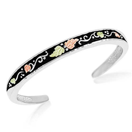 Petite Antiqued Bangle Bracelet; Sterling Silver, 12k Green and Rose Gold Black Hills Gold