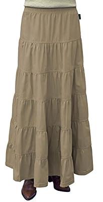 Baby'O Women's Ankle Length 6 Tiered Long Denim Prairie Skirt