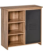 HOMCOM Cupboard Storage Cabinet with 3 Tiers and Steel Door, Home Organizer Sideboard with Adjustable Shelf for Dining Room, Living Room, Kitchen