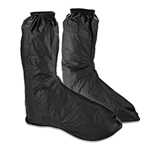 Hot Black Waterproof Motor Rain Boots Outdoor Motorcycle Cycling Protective Gear Bike Riding Rain Boot Shoe Cover Anti Slip Anti-skid Footwear (Black1)