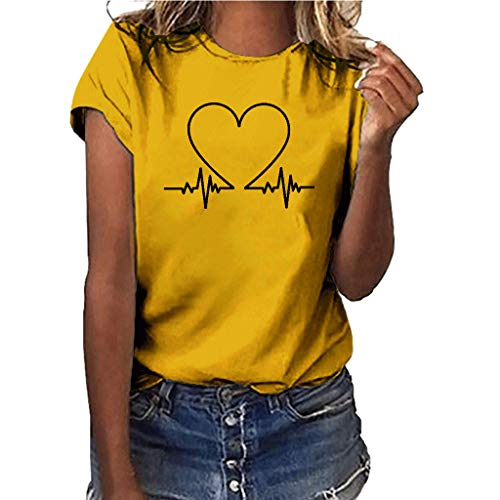 Smdoxi Summer Women's Shirt Solid Color Heart-Shaped Wave Pattern Large Size Printed Shirt Short-Sleeved T-Shirt top Yellow ()