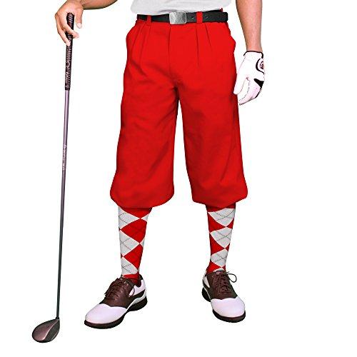 - Red Golf Knickers: Mens 'Par 3' - Microfiber - 34