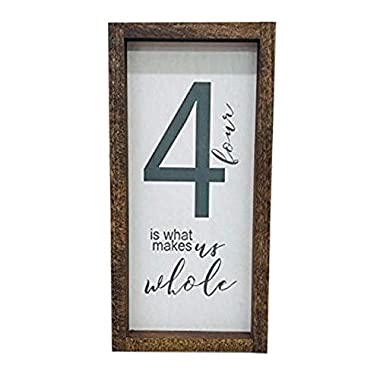 Madi Kay Designs Farmhouse Wall Decor, Family of 4 Home Sign, Rustic Wooden Frame Decoration