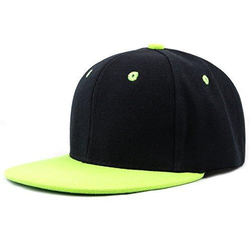 The Hat Depot 1300 Premium Quality Plain Flat Snapback Baseball Cap (Black Lime)