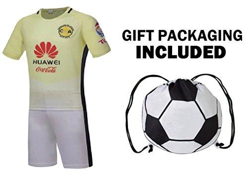 Fan Kitbag Club America Club de Fútbol América S.A.de C.V. Men's Soccer Jersey & Shorts Adult Premium Gift Kitbag ✮ BONUS GIFT Soccer Backpack (Medium, Home Short Sleeve) ()