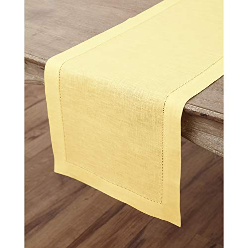 Solino Home Hemstitch Linen Table Runner - 14 x 72 Inch, Handcrafted from European Flax, Machine Washable Classic Hemstitch - Yellow
