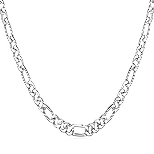 U7 Boys Necklace Preminum Fashion Jewelry Stainless Steel 3mm Wide Figaro Chain for Pendant, 22