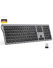 seenda 2.4 G Kabellose Tastatur, Deutsch QWERTZ Layout mit Ziffernblock, kompatibel für PC, Laptop, und Android TV, Space Grau