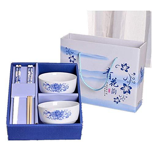 Household Ceramic Bowl (Ceramic) Chopsticks (Mao Bamboo) Gifts Beautifully packaged Bowl diameter 10.8 cm Height 5.2 cm Chopsticks length 22.5 cm Blue