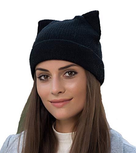Penny's Women Cat Ear Beanie Hat Wool Braided Knit Trendy Winter Warm Cap Black One Size