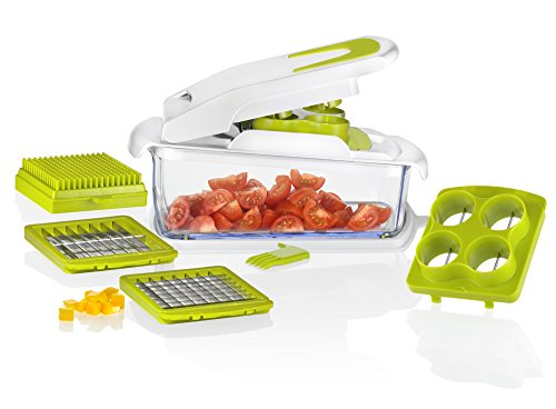 Vegetable and Fruit Chopper,4 IN 1,vegetable slicer and cube with Grape & Tomatoe Slicer, 1/2 & 1/4 Cut, Adjustable Slicer & Dicer With Storage Container and Non-Skid Base, By Tiabo