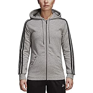 adidas womens Adidas women's athletics essential cotton fleece 3 stripe full zip hoody F1754WFL400 , womens, Adidas women's athletics essential cotton fleece 3 stripe full zip hoody, F1754WFL400, Medium Grey Heather/Black, XX-Small