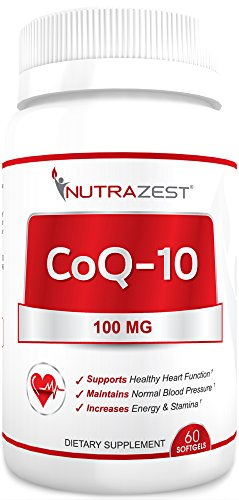 Heartbeat Cholesterol Support - Nutrazest CoQ10 100mg - 100% Pure CoEnzyme Q-10 Benefits Cardiovascular Health, Energy and Stamina, Muscle Recovery, Brain Health & Supports Healthy Blood Pressure - All Natural Formula - 60 Softgels