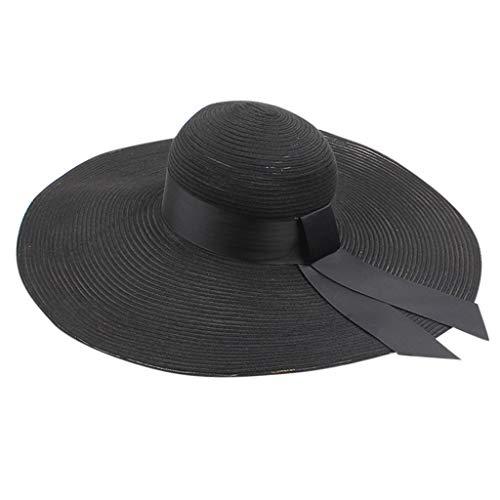 Womens Beach Sun Straw Hat Wide Brim Straw Sun Cap Bowknot Beach Foldable New for Travel (Black)