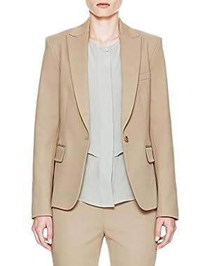 Theory Essential H Stable Stretch Cotton Twill Jacket Blazer, Khaki, 00
