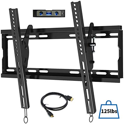 """Everstone Tilting TV Wall Mount for 23-55″ TVs up to VESA 400x400mm and 125 LBS, Fits 8"""" or 16"""" Studs. Easy Install Low Profile Bracket Support Flat Curved Screens"""