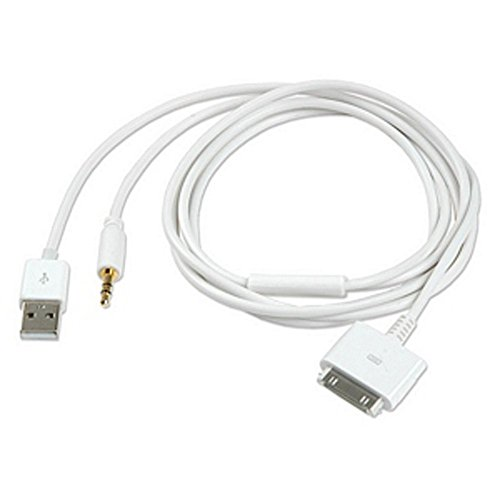 Inovat 30P Dock to USB AUX 3.5mm Audio Cable for Apple iPhone 4S 3GS iPod Touch 2-in-1 USB 3.5mm Audio Cable 4FT(White)
