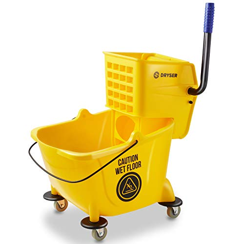 Dryser Commercial Mop Bucket with Side Press Wringer, 26 Quart, Yellow