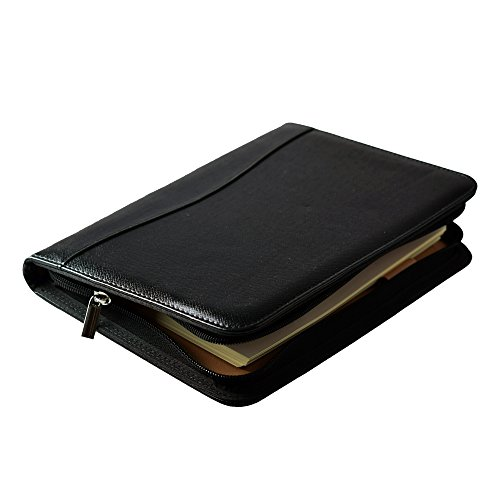 Mcbazel PU Leather Cover A5 Ring Bound Business Notepad Travel Journal Diary with Built-in Calculator/Card Slot/Pen Holder/Receipt Cash Card Slot Refillable Zipper Folder Organizer - Black