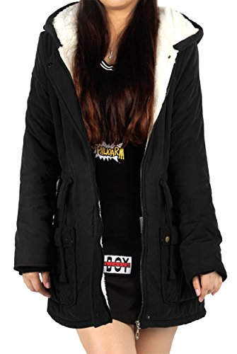 4How Lovely Faux Fur Womens Coats with Hood Warm Rib Cuffs Black Green Navy UK Size 10 12 14 Negro