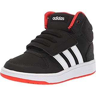 adidas Baby Unisex's Hoops Mid 2.0 Basketball Shoe, black/white/red, 4 Little Kid