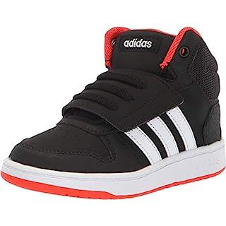 adidas unisex child Hoops Mid 2.0 Basketball Shoe, Black/White/Red, 13 Little Kid US