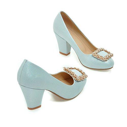 Balamasa Dames Bezaaid Rhinestones Metalen Gespen Glas Ruit Geïmiteerd Leer Pumps-schoenen Blauw