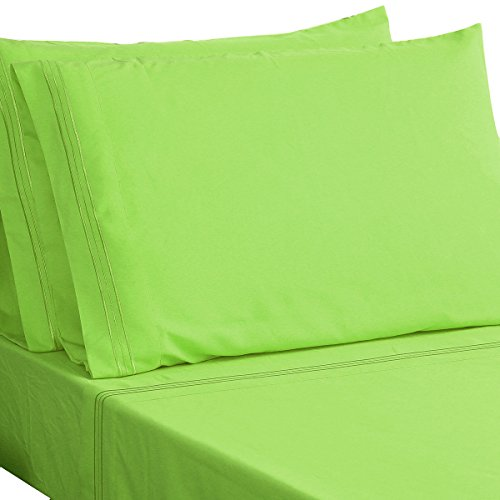 HONEYMOON HOME FASHIONS Microfiber Embroidered Queen Bed Sheet Set, Soft and Luxury, Lime (Lime Green Sheets)