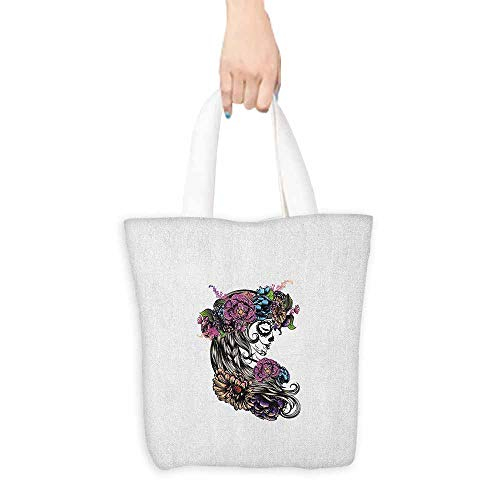 (Shopping work bag Day of the Dead Spanish Girl Portrait with Blossoming Floral Hair and Festival Make Up Cosmetic bag 16.5