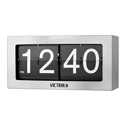 (Victrola VC-425-SLV Flip Clock Large Silver)